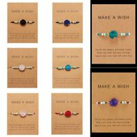 Make a Wish Natural Stone Charm Braided Rope Bracelet Friendship Card Jewelry