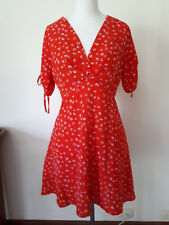 Atmos&Here retro 1970s style red summer dress size 8