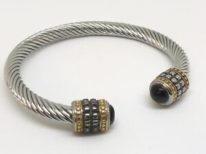 Twisted Stainless Steel Cable Bracelet Bangle With Black Stone