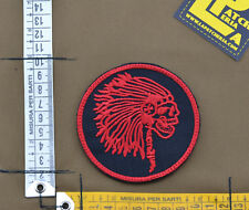 """Ricamata / Embroidered Patch """"Indian Skull"""" Black with VELCRO® brand hook"""