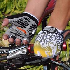 Men's Gel Cycling Gloves Fingerless MTB Bike Bicycle Cycle Sports Gloves Yellow