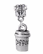 Coffee to Go Travel Cup Mug 3D Dangle Charm for Silver European Bead Bracelets