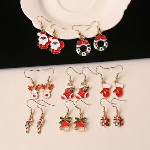 New Women Crystal Snowflake Candy Ear Stud Hook Earrings Jewelry Christmas Gift