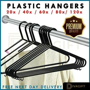 ADULT BLACK COAT HANGERS HANGER COATHANGER STRONG PLASTIC CLOTHES DRESS