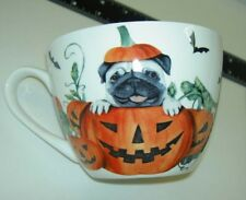 New Portobello Halloween Pumpkin Pug Dog Bat Paw Print Fine Bone China Mug