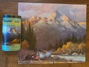 Vintage Deluxe Guild WHITMAN Puzzle Mountain Campers No 205 in Canister 18 x 15