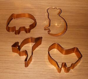 Clarke Brothers Handmade Copper Cookie Cutter x4 Australia Kangaroo Koala Wombat