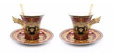 Royalty Porcelain 6-pc Red Tea Set, Service for 2, Medusa Greek Key, 24K Gold