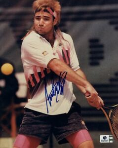 Andre Agassi Signed Autographed 8X10 Photo Tennis Legend Swinging GV917677