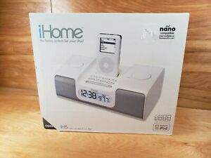 NEW!! White iHome iH5 Clock Radio Apple iPod Home Docking Station w Remote