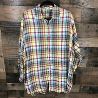 Peter Millar Men's Red Yellow Blue Madras Plaid Long Sleeve Button Up Shirt