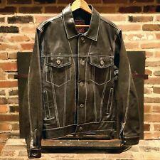 (CONTRAST STITCH!) Vtg Black Leather Trucker Jacket Gap Moto Biker Denim Small