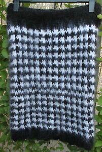 Mohair  fuzzy sweater skirt Mohairrock schwarz-weiß Hahnentritt size M-L
