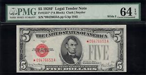 1928F $5 Legal Tender FR-1531* - STAR NOTE - Graded PMG 64 EPQ Choice Unc.