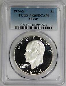 1974 S SILVER Eisenhower IKE PROOF DOLLAR PCGS 68 DCAM