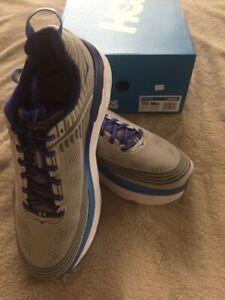 HOKA ONE ONE BONDI 6 Sz 10.5 Men's Running Shoes, Blue/Grey, FREE SHIPPING!!