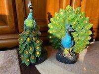Two Peacock Solar Light Up Ornament Figurine Statue Sculpture Home Decor Gift