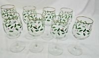HOLLY WINE GOBLETS, LOT OF 8, HOLLY WITH GOLD TRIM