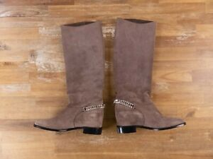 $1295 CHRISTIAN LOUBOUTIN Cate rose gray suede chain tall boots 5.5 US / 35.5 EU