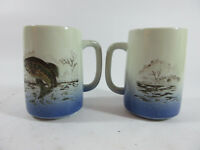 Lot of 2 Otagiri 16 Ounce Coffee Mug Fishing Bass Large Mouth Fish Cup Japan VTG
