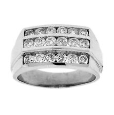 2.25ct ROUND Cut 3 Channel Set Diamond Mens Wedding Band in 14K White Gold