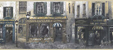 Cafe Store French Street Scene Antique Shop Gallery Vintage Wall paper Border