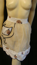 50s Vintage Fabulous Beige Organdy Apron With Brown Rose Print & Black Rick Rack