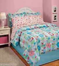 Lexie Blue Colorful Floral Flower Bed-In-A-Bag Comforter Sheet Set Decor Twin