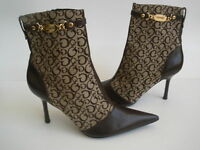 Guess G logo Ankle Heel Boots Bootie Pointed toe Zipper Gold size US 9.5 EU 39.5