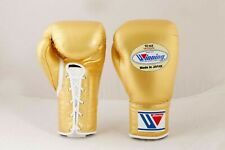 Winning Boxing Gloves Gold Lace UP Pro Type MS 300 10 oz Handcrafted in Japan