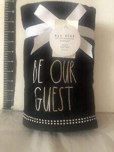 """Rae Dunn Set Of Two """"BE OUR GUEST"""" hand Towels Black LL"""