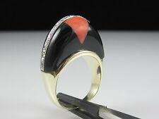 Vintage Art Deco Retro Ring Black Onyx Coral Diamond Estate 14K Band Style $2500