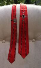 Vintage Regal Men's Necktie Red Narrow Medallion Design