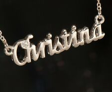 CHRISTINA Name Necklace with Rhinestone Gold or Silver Tone