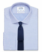 T.M.Lewin   Slim Fit Blue Dogtooth Basket Weave Shirt – Double Cuff