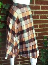 Exc Vintage Tartan Plaid Pleated Mid Calf Womens Skirt Brown Size XS Kilt 70s