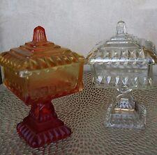 Vintage 2 Depression Glass Jeannette Wedding Bowl Amber to Orange & Clear W/Gold