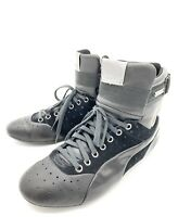Alexander McQueen Puma Black Leather Hi Top Sneakers Runners Shoes Men Size 8