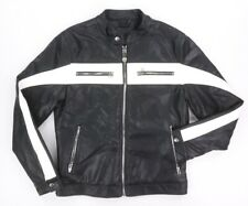 NEW BLANKNYC BLACK WHITE PIE FACE VEGAN LEATHER MOTORCYCLE RACER JACKET SIZE M