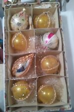 "8 VINTAGE MERCURY GLASS CHRISTMAS ORNAMENTS - 3"" TO 5"" LONG- GERMANY"