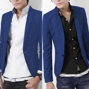 Men Formal Work Blazer Jacket Business Casual One Button Slim Fit Suit Coat Tops
