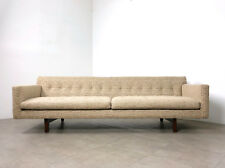 "91"" Vintage Edward Wormley Dunbar Bracket Back Tweed Sofa Mid Century Modern"