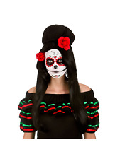 Ladies Day Of Dead Wig Flowers Mexican Senorita Fancy Dress Halloween Darling