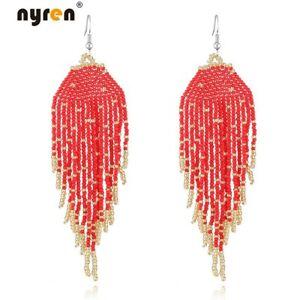 Multi Color Hand Woven Beads Earrings Boho Beaded Long Drop Dangle Earrings 2525