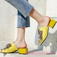 Womens Spring New Mules Peep-toe Suede Pumps Crystal Shoes Slippers Kitten Heel