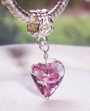 Lavender Glass Heart Pink Clear Purple Murano Dangle Charm for European Bracelet