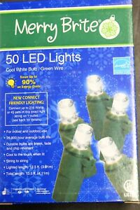 50 Count Merry Brite Led Christmas Cool White Bulb Round Green Wire Mini Style