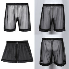 Sexy Mens Sheer Mesh Lace Loose Lounge Shorts Trunk Lightweight Pants Underwear