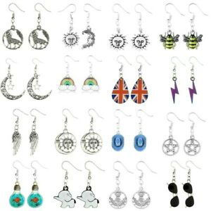 Earrings Dangle Drop Enamel Tibetan Silver Handmade Resin Gothic Halloween