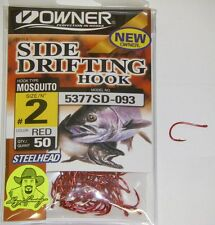 Owner Side Drifting Hooks Steelhead Mosquito  #5377SD-093 Size #2 RED 50 pack